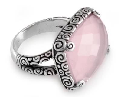 Sterling Silver and Pink Chalcedony Ring