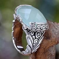 Sterling silver cocktail ring, 'Blue Depths' - Etched Silver with Aqua Chalcedony Gemstone Ring