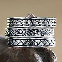 Mens sterling silver stacking rings Three Principles (set of 3) (Indonesia)