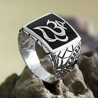 Men's sterling silver ring, 'Balinese Om'