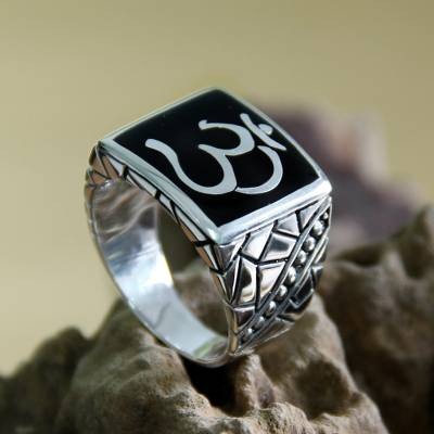 Men's sterling silver ring, 'Sanskrit Om' - Men's Sterling Silver Signet Ring from Indonesia
