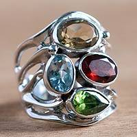 Citrine and garnet cocktail ring, 'Splendid Colors' - Handcrafted Sterling Silver Multigem Cocktail Ring