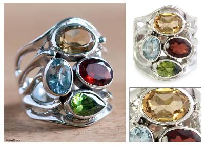 Citrine and garnet cocktail ring, Splendid Colors