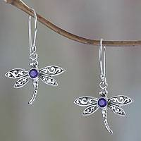 Amethyst dangle earrings, 'Enchanted Dragonfly' - Amethyst and Sterling Silver Dragonfly Earrings from Bali