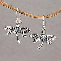 Featured review for Blue topaz dangle earrings, Enchanted Dragonfly