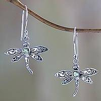Peridot dangle earrings, 'Enchanted Dragonfly' - Sterling Silver and Peridot Dangle Earrings