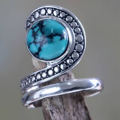 sterling silver necklace price - Sterling Silver and Reconstituted Turquoise Ring