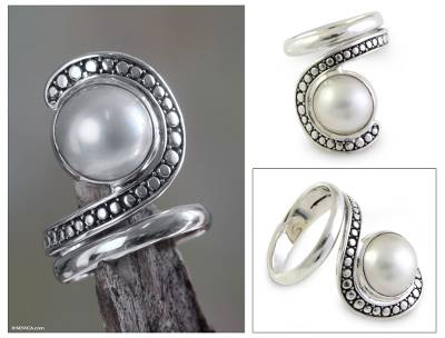 sterling silver urn necklaces - Pearl and Sterling Silver Cocktail Ring