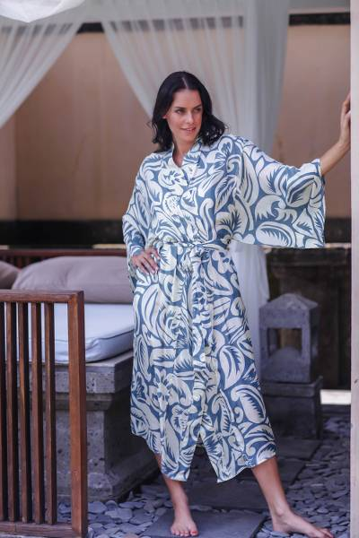 Silk robe, 'Blue Hibiscus Haven' - Women's Floral Silk Robe