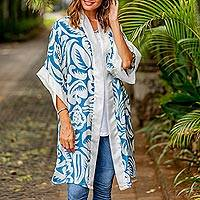Silk robe, 'Floral Kimono' - Blue Silk Screen Print Tropical Hibiscus Women's Robe