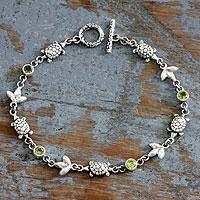Peridot link bracelet, 'Turtle Island' - Sterling Silver and Peridot Bracelet