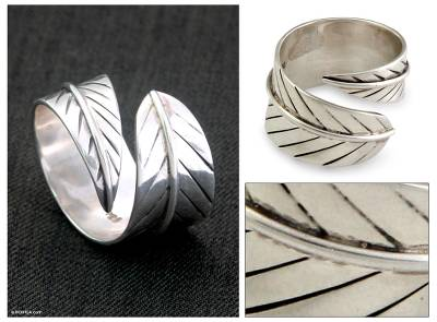 Sterling silver wrap ring, 'Fallen Leaf' - Hand Crafted Sterling Silver Wrap Ring