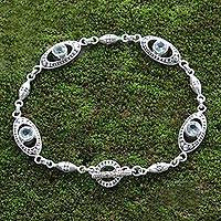 Blue topaz link bracelet, 'Reflections in Blue' - Sterling Silver and Blue Topaz Link Bracelet