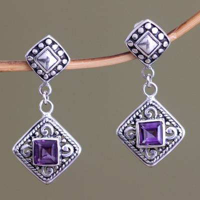 Amethyst dangle earrings, 'Dream Garden' - Fair Trade Sterling Silver and Amethyst Dangle Earrings