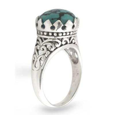 Silver and Reconstituted Turquoise Ring