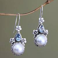 Cultured pearl and blue topaz floral earrings, 'Frangipani Trio' - Sterling Silver Pearl and Blue Topaz Earrings