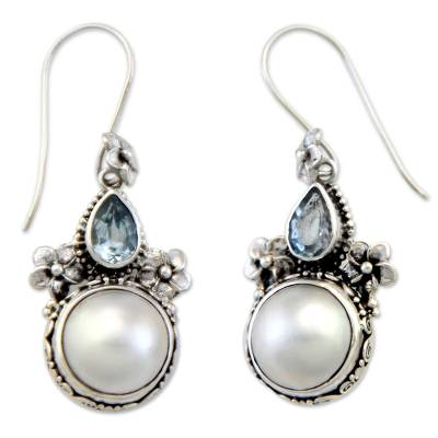 Cultured pearl and blue topaz floral earrings, 'Frangipani Trio' - Sterling Silver Pearl and Blue Topaz Earrings from Bali