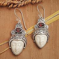 Garnet dangle earrings, 'Royal Romance' - Sterling Silver and Garnet Dangle Earrings