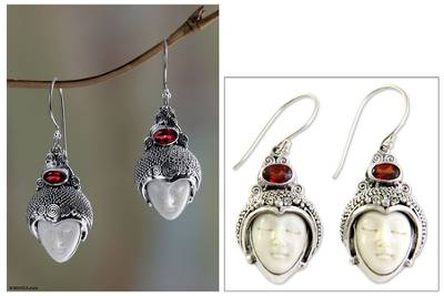 Garnet dangle earrings, 'Royal Romance' - Sterling Silver and Garnet Dangle Earrings