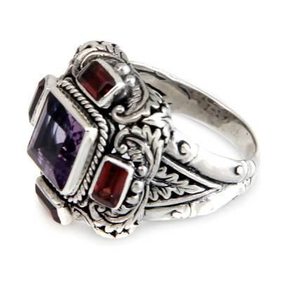 Amethyst and Garnet Cocktail Ring from Indonesia