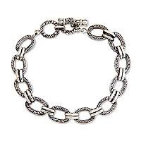Men's sterling silver link bracelet, 'Bali Memoirs' - Hand Crafted Men's Sterling Silver Link Bracelet from Bali