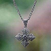 Amethyst flower necklace, 'Jasmine Wonder' - Sterling Silver and Amethyst Cross Necklace