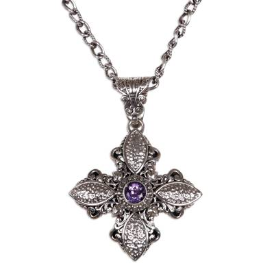 Sterling Silver and Amethyst Cross Necklace