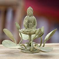 Wood sculpture, 'Buddha on a Lotus' - Hibiscus Wood Buddhism Sculpture