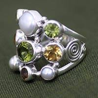 Pearl and peridot cluster ring, 'Tree of Lights' - Handcrafted Pearl and Gemstone Ring from Bali and Java