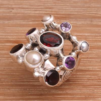 silver oak herringbone formica backsplash - Hand Made Pearl and Garnet Multigem Ring