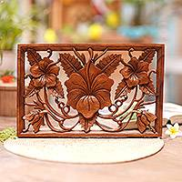 Wood relief panel, 'Hibiscus Bouquet' - Hand Crafted Floral Wood Relief Panel from Indonesia