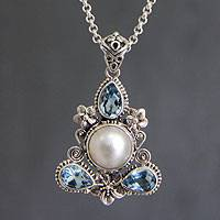 Cultured pearl and blue topaz floral necklace, 'Frangipani Trio' - Artisan Crafted Blue Topaz and Pearl Necklace