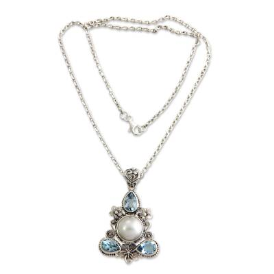 Artisan Crafted Blue Topaz and Pearl Silver Necklace