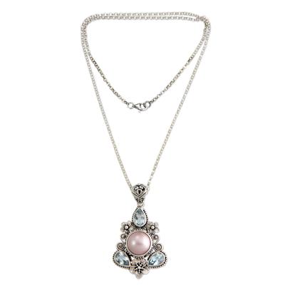 Unique Pearl and Blue Topaz Pendant Necklace
