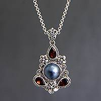 Cultured pearl and garnet floral necklace,