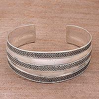 Sterling silver cuff bracelet, 'Balinese Ruffles'