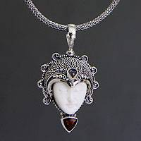 Garnet and moonstone pendant necklace, 'Princess Aura' - Garnet and Bone Silver Pendant Necklace