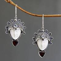 Garnet and blue topaz dangle earrings, 'Princess Aura' - Hand Crafted Bone and Garnet Earrings