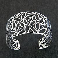 Sterling silver cuff bracelet, 'Bali Harvest' - Fair Trade Sterling Silver Cuff Bracelet