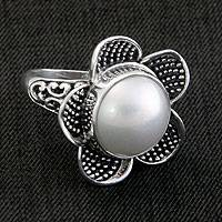 Cultured pearl cocktail ring, 'White Jasmine' - Unique Floral Silver and Pearl Cocktail Ring