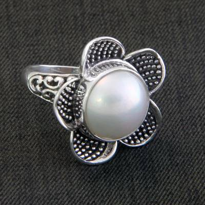 Cultured pearl cocktail ring, White Jasmine