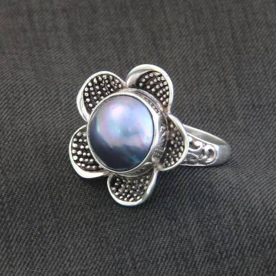 Cultured pearl cocktail ring, Blue Jasmine