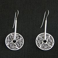 Sterling silver drop earrings, 'Cosmic Garden' - Hand Crafted Sterling Silver Drop Earrings