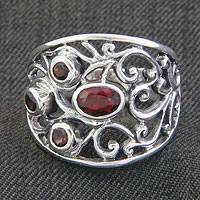 Garnet band ring, 'Tree of Life' - Sterling Silver and Garnet Ring from Indonesia