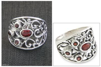 silver s necklace osrs - Sterling Silver and Garnet Ring from Indonesia
