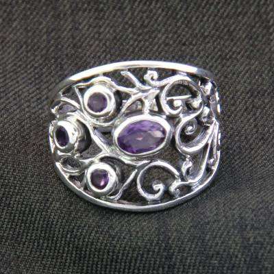 necklace silver for women quotes - Handcrafted Amethyst and Silver Ring