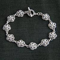 Sterling silver flower bracelet, 'Loyal Frangipani' - Unique Sterling Silver Flower Bracelet