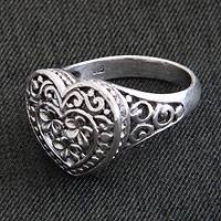 Sterling silver flower ring, 'Loyal Heart'