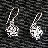 Sterling silver flower earrings, 'Loyal Frangipani' - Handmade Sterling Silver Flower Earrings