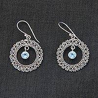 Blue topaz dangle earrings, 'Radiant Halo' - Indonesian Sterling Silver and Blue Topaz Earrings